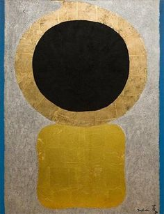 Kenji Yoshida: after 1984 he devoted himself almost entirely to ever-bigger works in oil on canvas, usually incorporating gold, silver or platinum leaf in the Japanese tradition. Their themes became increasingly cosmic and mystical, often seeming to be portraits of the created universe itself.