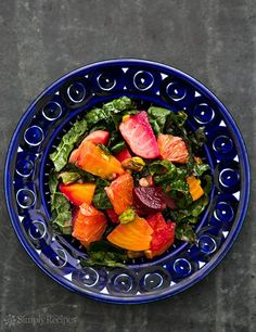 Festive Beet Citrus Salad with Kale and Pistachios ~ Color beet salad with orange slices, kale, and toasted pistachios. ~ SimplyRecipes.com