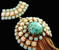 Alice Caviness Brooch Turquoise Art Glass White Blue Milkglass Tassel Vintage