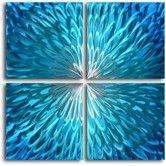 "Found it at Wayfair - ""Shimmering Blue Dahlia Desire"" 4 Piece Contemporary Handmade Metal Wall Art Set"