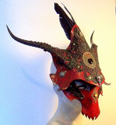 Maybe an artifact for the Red Harlequins/Hellequins Red Dragon. Dragon Mask, Red Dragon, Larp, Helmet Covers, Leather Mask, Beautiful Mask, Venetian Masks, Cosplay, Black Feathers