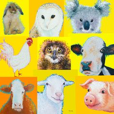 Farm Animal Collage  #kidsroomdecor #nurserywallart #nurserydecor #nurseryart #animalposter