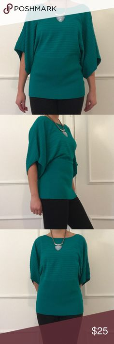 Batwing sweater top Beautiful vibrant turquoise green sweater top. Very stretchy. In fantastic condition. Size large women's. 80% rayon 20% nylon. Style & Co Tops Blouses