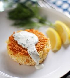 Recipe:  Smoked Salmon Potato Cakes with Herb Crème Fraîche  — Recipes from The Kitchn