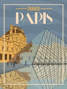 New York Discover Paris France - Vintage Travel Poster Poster Art, Poster Prints, Gig Poster, Travel Illustration, Vintage Travel Posters, Vintage Ski, Vintage Paris, Vintage Design Poster, Room Posters
