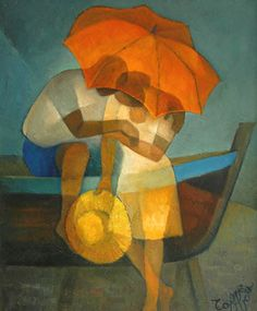 Louis Toffoli (French: 1907–1999) - Le parasol rouge