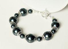 Blue Pearl Bracelet Handmade Jewelry in Silver by beaddesignsbyk, $21.75
