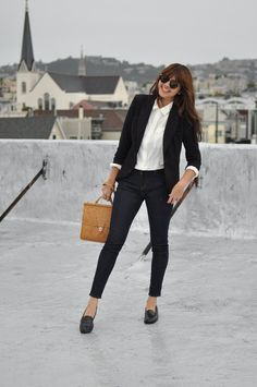 Can I please, please look this cool and laid back (but still professional) at work? I can try. :) (source: blushingambition.blogspot.com)