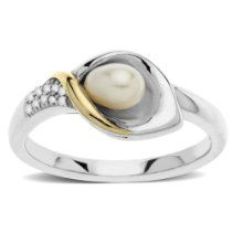 Silver and Yellow Gold Freshwater Cultured Pearl and Diamond Calla Lilly Ring