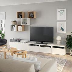 BESTÅ / EKET Cabinet combination for TV - white/white stained oak effect - IKEA