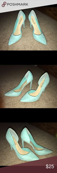 Nasty Gal - Light Blue Suede Pumps These pumps are gorgeous. I only wore them a handful of times before realizing they were too small for me. Pretty suede light blue color, very minor blemishes (I don't know how to clean suede and don't want to ruin them)! Nasty Gal Shoes Heels