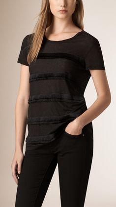 Fringed Linen T-shirt | Burberry