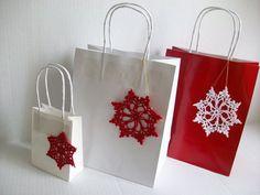 Paper Gift Bags handmade Christmas Ornaments by by MyDreamCrochets, $15.00 Christmas Bags, Christmas Ideas, Christmas Crafts, Xmas, Christmas Ornaments, Handmade Ornaments, Handmade Christmas, Paper Gift Bags, Snowflakes