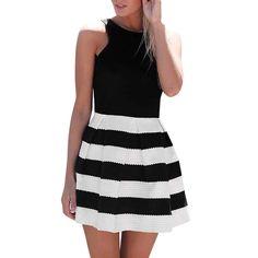Hohaski Women's Fashion Casual Sleeveless Striped Print Zipper Backless Fold Dress Under 10 Dollars