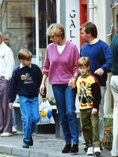 Ken accompanying William, Harry, and Diana on a trip to the shops (source)