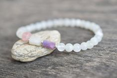 Rainbow moonstone bracelet June birthstone gift raw crystal gemstone jewelry gift for her Amethyst Bracelet, June Birth Stone, Cord Bracelets, Crystals And Gemstones, Rainbow Moonstone, Little Gifts, Gifts For Women, Handmade Items, Awesome