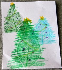 Christmas Craft for kids: Christmas tree card. Leaf Rubbing