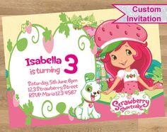 Strawberry Shortcake Invitation, Strawberry Shortcake invitations, Strawberry Shortcake card, Strawberry Shortcake printable, Customized by DesignMadeDesigns on Etsy Shopkins Invitations, Custom Invitations, Birthday Invitations, Strawberry Shortcake, Princess Peach, Rsvp, Printables, Handmade Gifts, Cards
