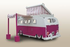 VW Camper Van Slammed Custom Theme Bed with Add on Pop Top by Fun Furniture Collection, Home of Themed Childrens Beds,Toy Boxes and Storage. Visit www.funfurniturecollection.co.uk