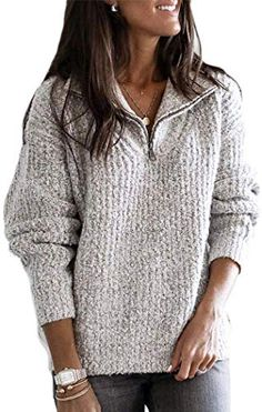 lightinthebox / Mulheres Sólido Manga Longa Pulôver Camisola Jumper, Decote V Cinza Claro / Rosa / Cinzento S / M / L Casual Sweaters, Casual Tops, Sweaters For Women, Winter Sweaters, Coats For Women, Clothes For Women, Cardigan Long, Long Sleeve Sweater, Fleece Pullover