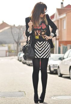 34 Popular Black And White Street Style Combinations- I would not wear the ac/dc tshirt swap it for a guns n roses or metallica instead