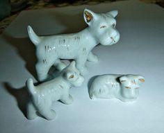 Vintage Scotty Dog Family Figurines 50s by PopcornVintageByTann