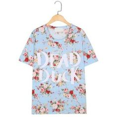 Words and Foral Print Short Sleeves T-Shirt