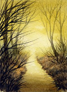 ACEO Original Miniature Watercolor Painting by Elena Mezhibovsky