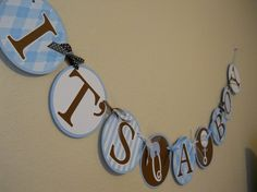 ITS A BOY Baby Shower Banner in Blue Brown White  by golferandwife, $19.00