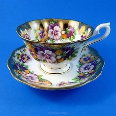 Royal Albert Purple and Yellow Pansy Heavy Gold Tea Cup and Saucer SetYou can find Tea cup saucer and more on our website.Royal Albert Purple a.