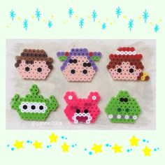 Toy Story characters perler beads by Hamma Beads 3d, Fuse Beads, Pearler Beads, Diy Perler Beads, Perler Bead Art, Pearler Bead Patterns, Perler Patterns, Toy Story, Hama Beads Disney