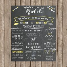 Chalkboard Baby Shower Sign Printable by SavvyDeetsDesigns on Etsy ..I could recreate this on my chalkboard and hang it!!
