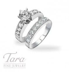 Diamond Engagement Ring and Band in 18K White Gold, 1.13TDW (Center stone sold separately)