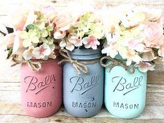 Set of 3 Hand Painted Mason Jars Grey Mason Jars Coral Mason Kerr Mason Jars, Mason Jar Vases, Mason Jar Centerpieces, Mason Jar Diy, Mason Jar Crafts, Purple Mason Jars, Colored Mason Jars, Distressed Mason Jars, Rustic Mason Jars