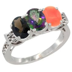 14K White Gold Natural Smoky Topaz, Mystic Topaz and Coral Ring 3-Stone Oval 7x5 mm Diamond Accent, sizes 5 - 10 >>> Trust me, this is great! Click the image. : Ring Bands