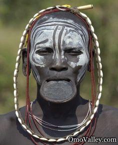 Suri woman with clay lip plate, Omo Valley, Ethiopia  #world #cultures