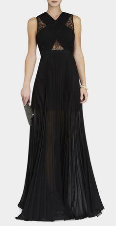 BCBG Max Azria  Caia Chiffon Pleated Gown