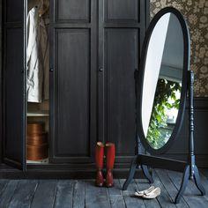 Zwarte Clarence staande spiegel