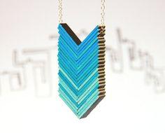 Ombre blue necklace  arrows necklace blue shadows by cartonBois, $38.00