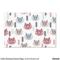 Little Christmas Festive Piggies Tissue Paper Christmas Tree And Santa, Little Christmas, Christmas Gifts, Christmas Gift Wrapping, Corner Designs, Tissue Paper, Happy Holidays, Reindeer, Festive