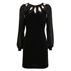 Chiffon, Polyester Black Long Sleeve Hollow Round Neck Loose Waist... ($68) via Polyvore