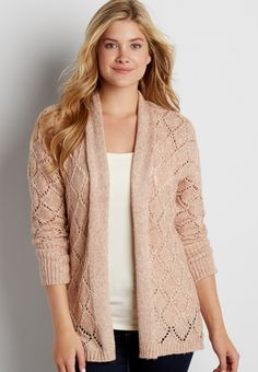 diamond stitched cardigan with metallic shimmer (original price, $44.00) available at #Maurices