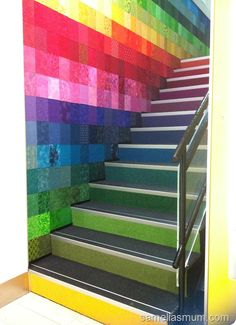 """Studio Playground likes this: """"Stairway to Heaven""""! steps leading up to a Hobbysew store in Australia. Fabric squares on wall all coordinate perfectly with the colour carpeting on the front of each step! Interior Stairs, Room Interior Design, Interior And Exterior, Bold Colors, Colours, Stair Railing, Stair Art, Railing Ideas, Rainbow Aesthetic"""