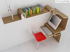 coolest small space desk ever.