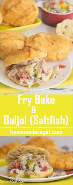 The quintessential Caribbean breakfast of fry bake and saltfish buljol. A fried dough like bread that sandwiches a mixup of saltfish.