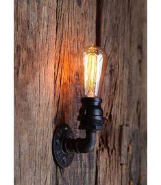 Applique murale tube acier simple. Finition noire mat. lampe décorative apporte un rendu design et vintage industriel orientée vers le haut ou vers le bas.