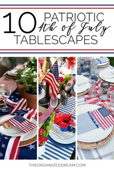 The Organized Dream: 10 Inspiring Patriotic of July Tablescapes 4th Of July Celebration, 4th Of July Party, Fourth Of July, 4th Of July Wreath, Summer Party Decorations, 4th Of July Decorations, Us Independence Day, Bbq Table, Seasonal Decor