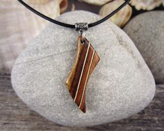 Men's Necklace With Wood Pendant Abstract Design Pendant