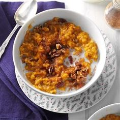 Pumpkin Spice Oatmeal Recipe -There's nothing like a bowl of warm oatmeal in the morning, and my spiced version works in a slow cooker. Store leftovers in the fridge. —Jordan Mason, Brookville, Pennsylvania