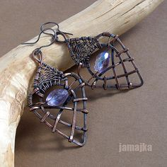 Beautiful and unique~ Wire Jewelry Earrings, Copper Earrings, Wire Wrapped Necklace, Wire Weaving, Bead Crafts, Metal Working, Wire Board, Handmade Jewelry, Jewelry Making